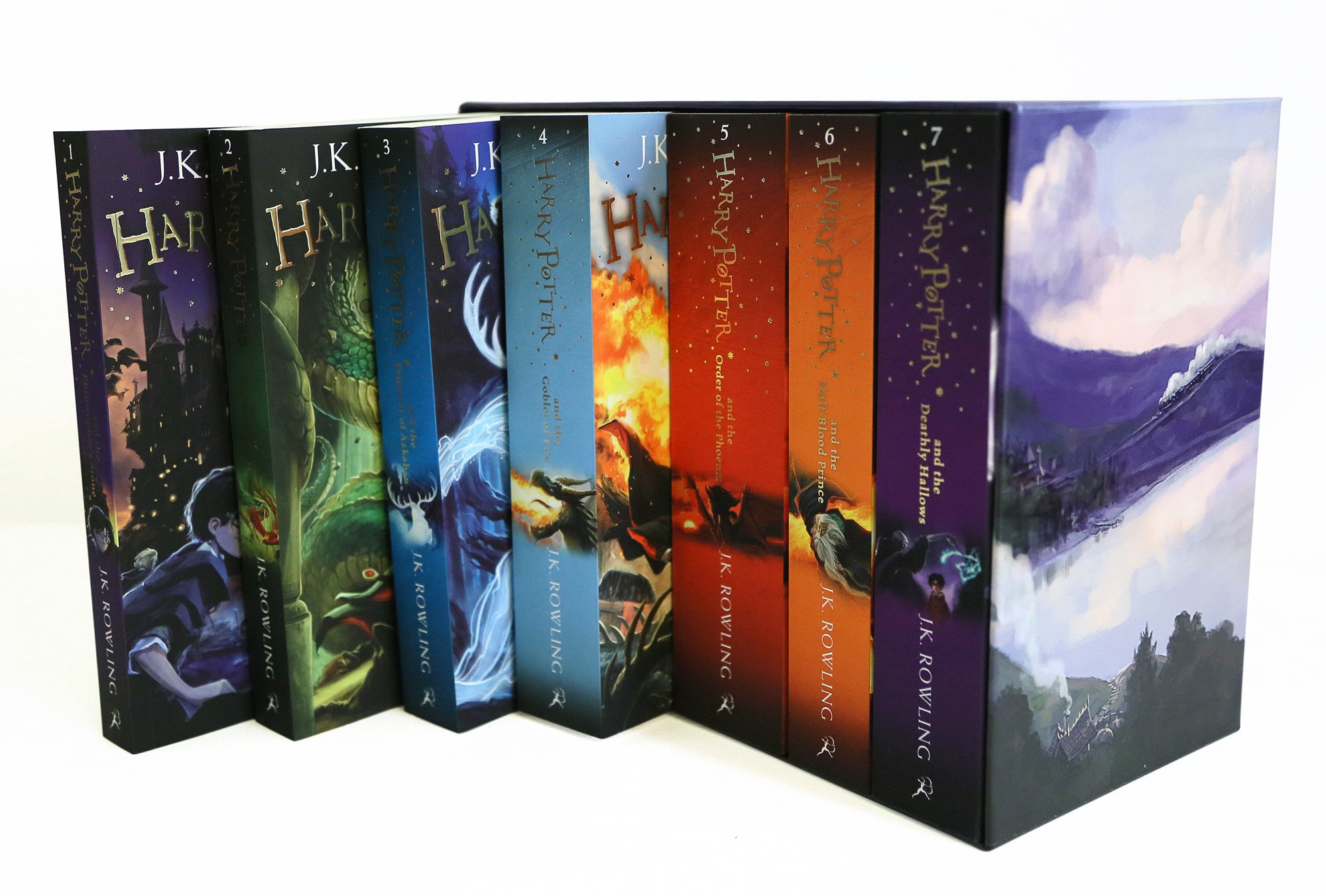 NEW SEALED BOX SET WITH ALL 7 HARRY POTTER BOOKS 1-7 BY J.K